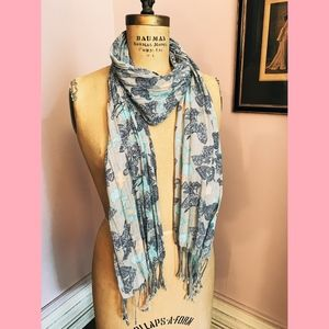 Aqua + Navy Butterfly Fringed Scarf
